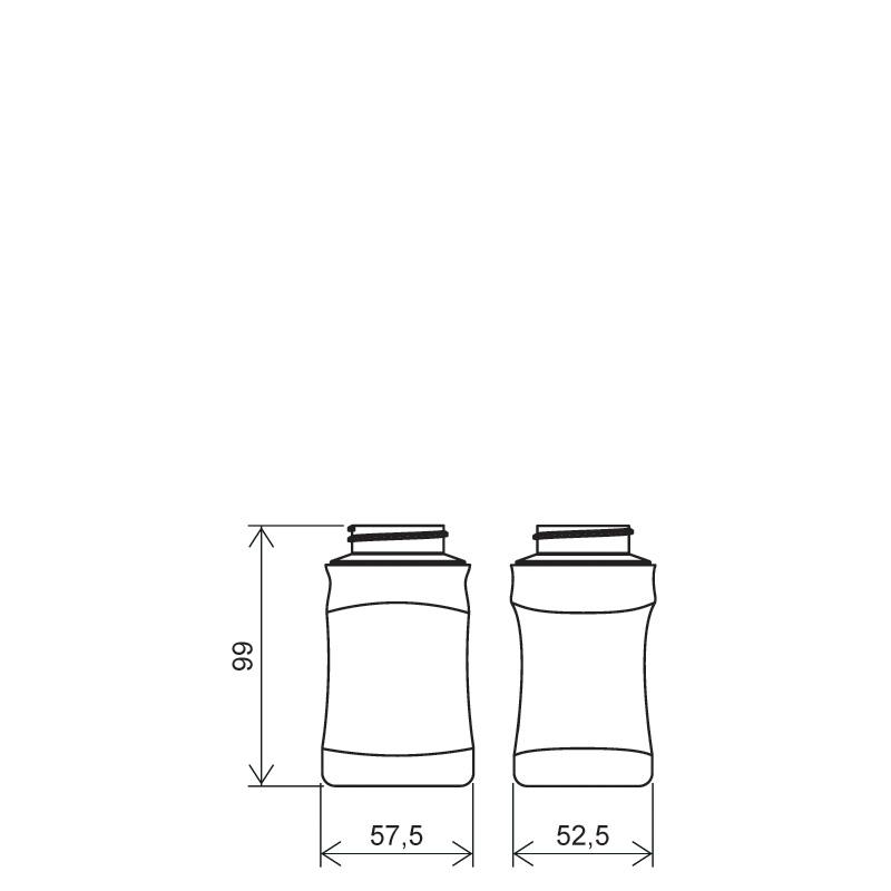 Flacone sagomato 190 ml COEX-PP, collo 38 mm, linea MILOS (Disegno)