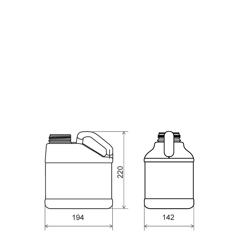 Pinched handle jerrycan 3 lt HDPE, neck DIN63, style MADAGASCAR (Draft)