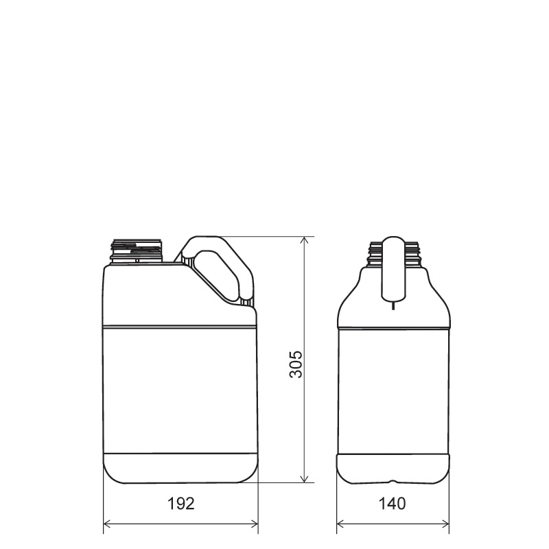 Pinched handle jerrycan 5 lt HDPE, neck DIN63, style MADAGASCAR (Draft)