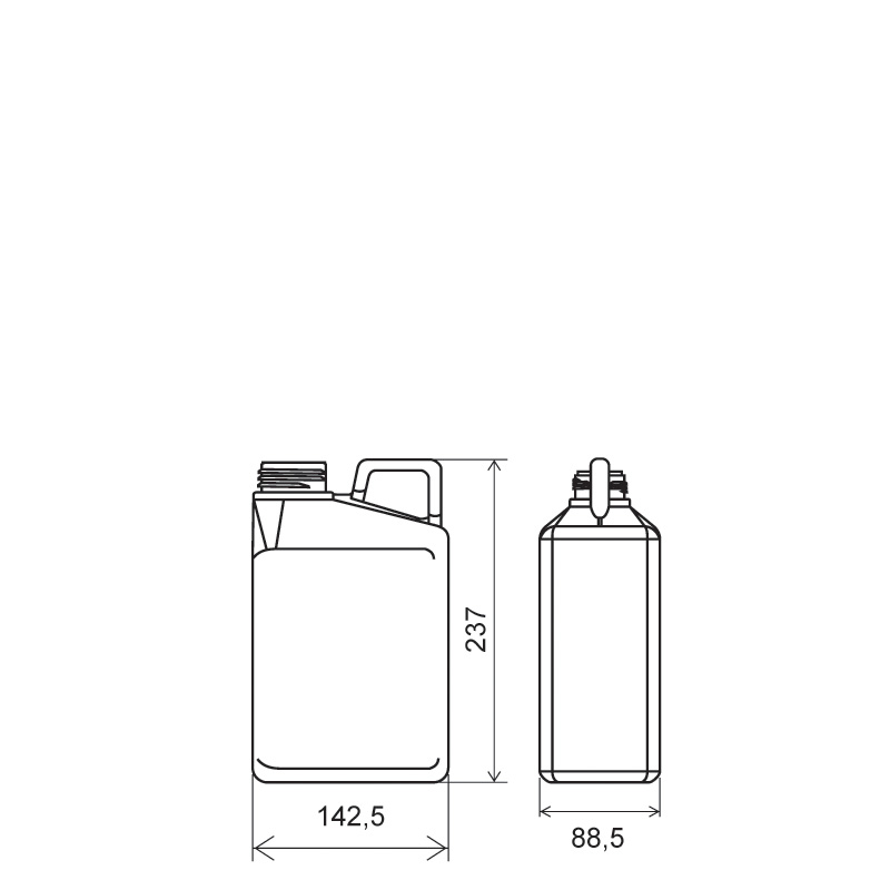 Pinched handle jerrycan 2 lt HDPE/COEX, neck 50TI, style MADAGASCAR (Draft)