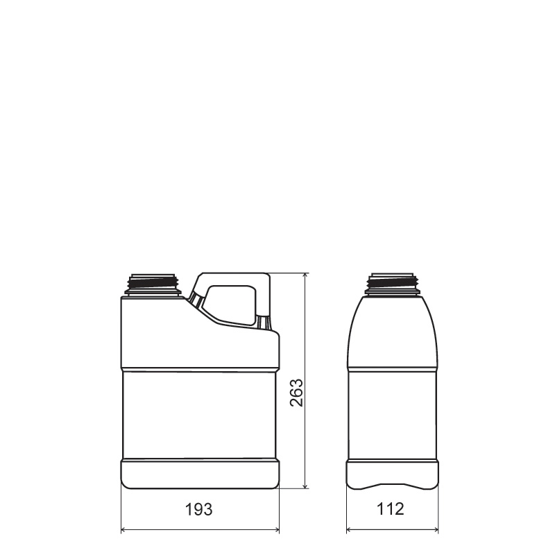 Pinched handle jerrycan 3 lt HDPE/COEX, neck DIN63, style MADAGASCAR (Draft)