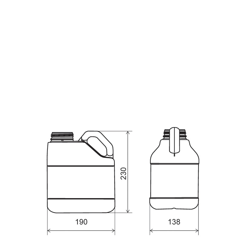 Pinched handle jerrycan 3,5 lt HDPE/COEX, neck DIN63, style MADAGASCAR (Draft)