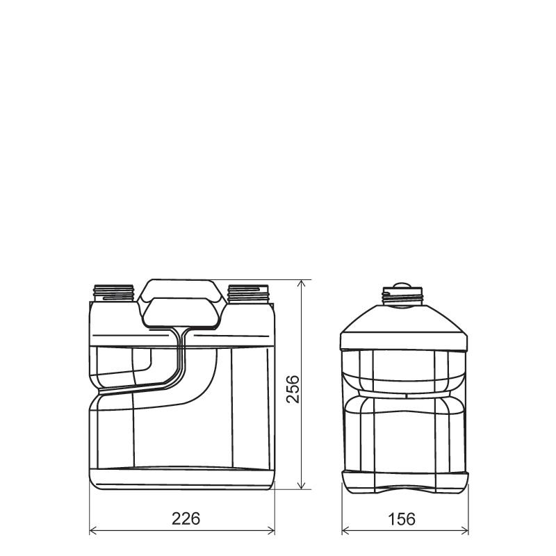 Twin-pack 4 lt + 1 lt HDPE/COEX, neck DIN50TI, style MADAGASCAR (Draft)