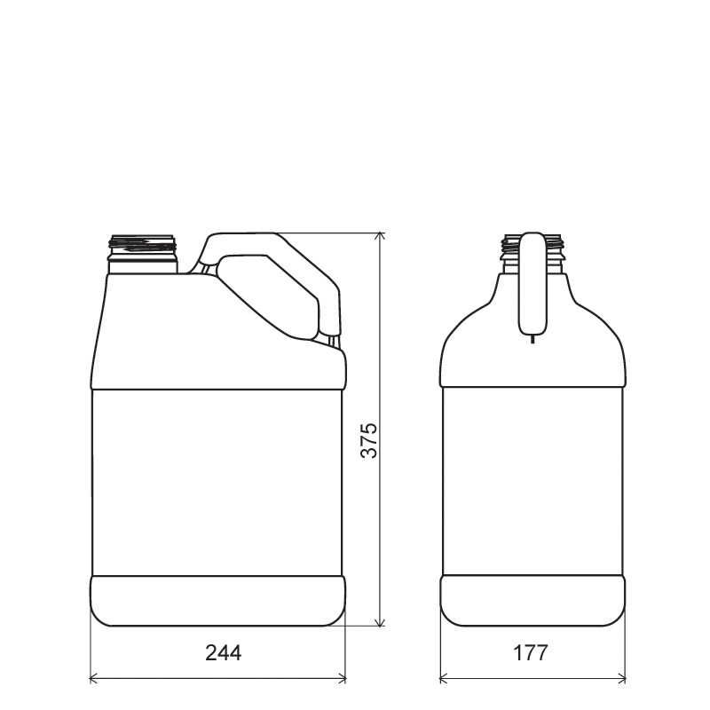 Pinched handle jerrycan 10 lt HDPE, neck DIN63, style MADAGASCAR (Draft)