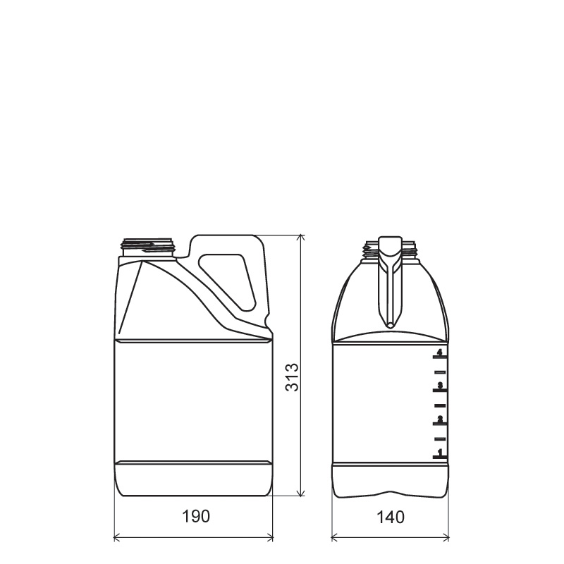 Pinched handle jerrycan 5 lt HDPE/COEX, neck DIN63, style MADAGASCAR (Draft)