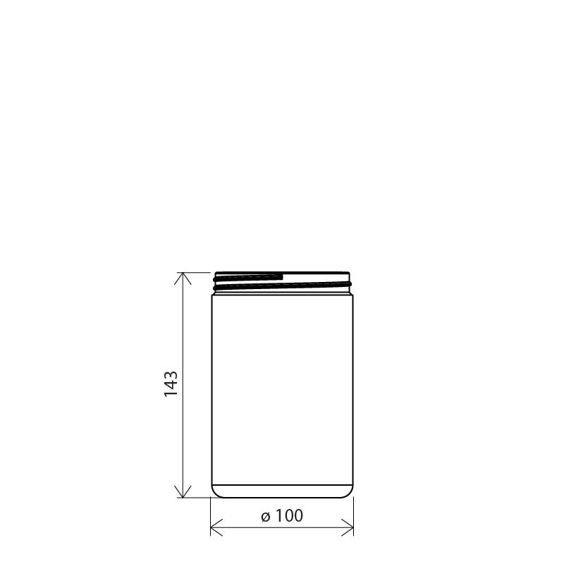 Cylindrical jar 1 lt PETG, neck ø100, style MANHATTAN (Draft)