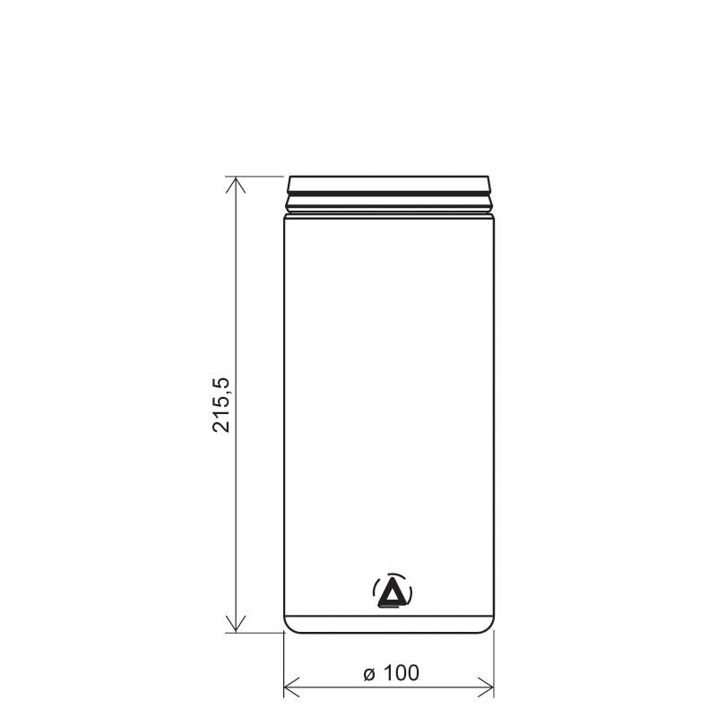 Contenitore cilindrico 1,45 lt HDPE, collo snap-on, linea AMIRANTES (Disegno)